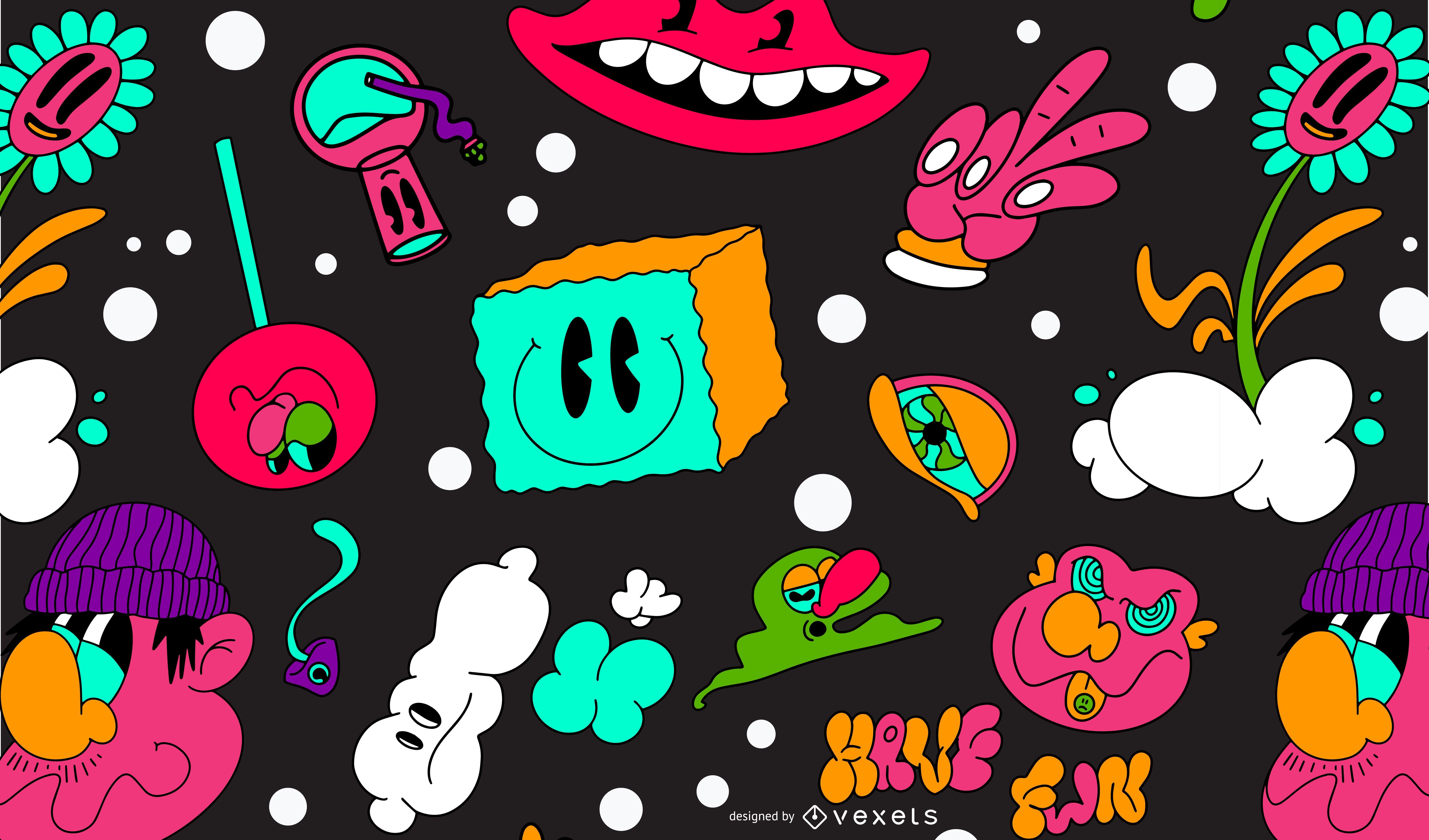 Desenho colorido de padrão trippy