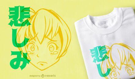 Diseño de camiseta anime girl crying
