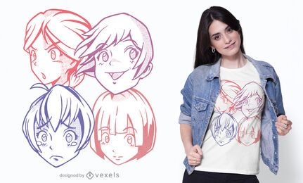 Cute anime faces t-shirt design