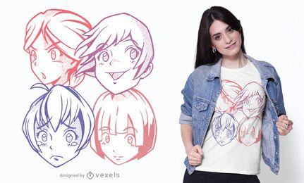 Design fofo de camisetas com rostos de anime