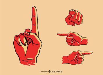 Conjunto de gestos con las manos