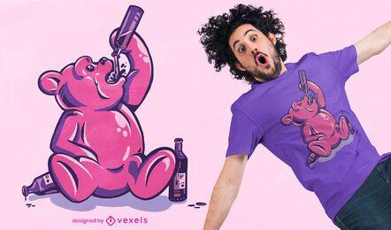 Diseño de camiseta de oso gomoso borracho