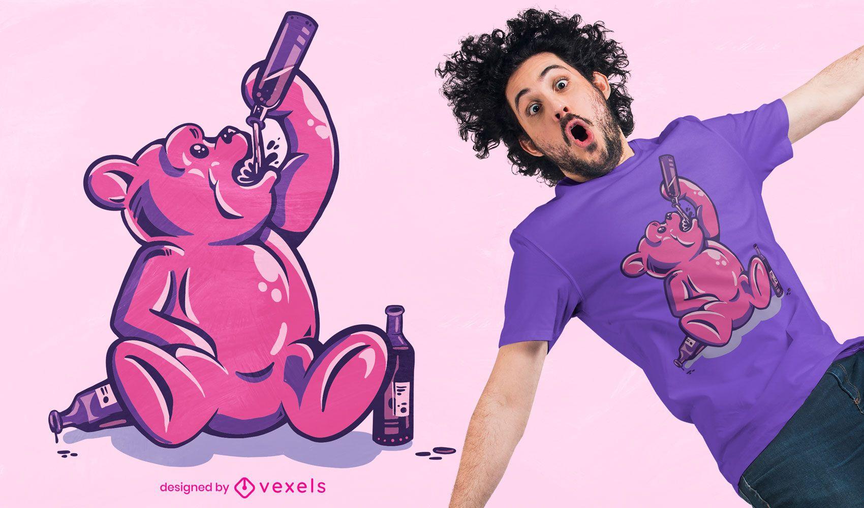 Drunk gummy bear t-shirt design