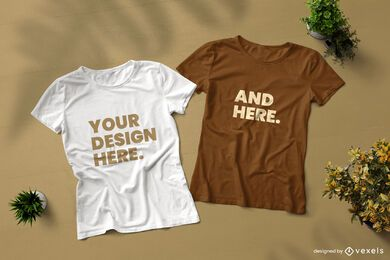 Front and back t-shirt mockup composition
