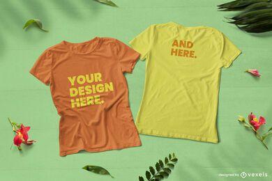 Composición de maqueta de camisetas de naturaleza delantera y trasera