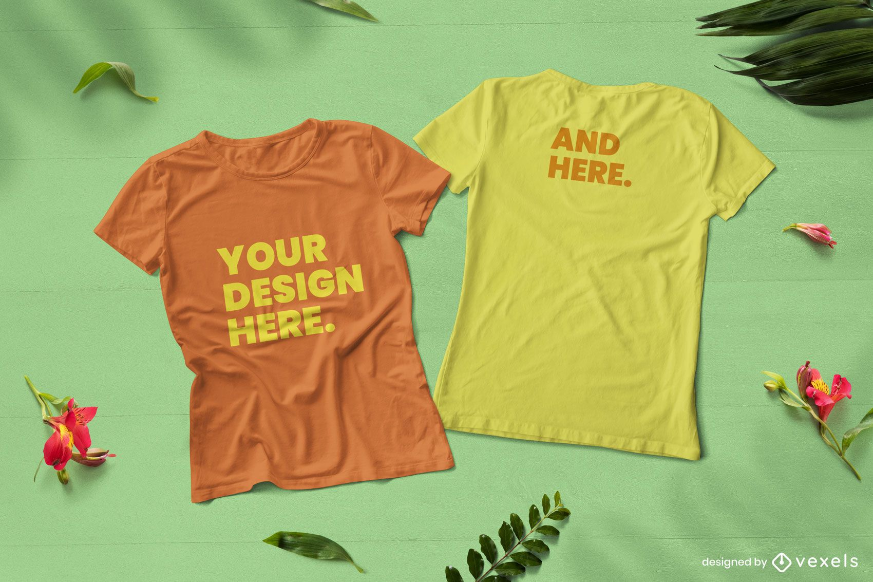 Front and back nature t-shirts mockup composition