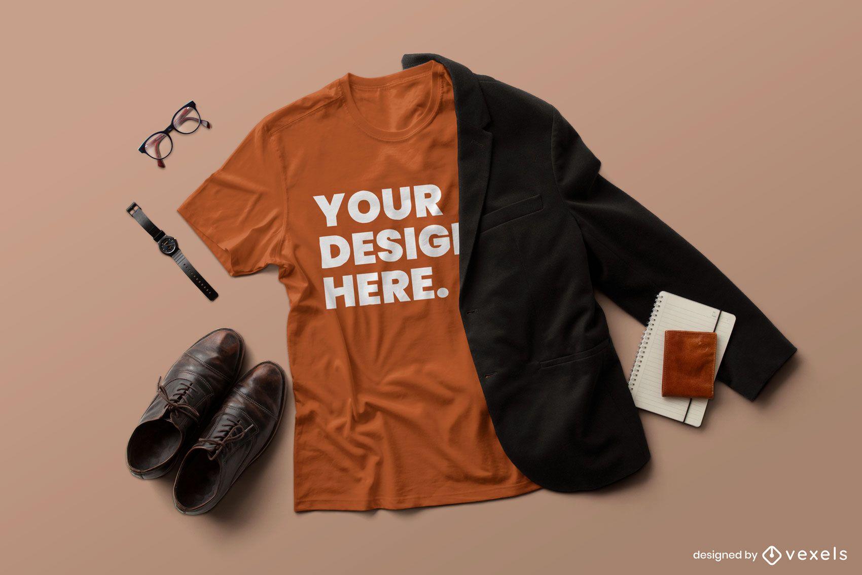Composição formal da maquete de camiseta