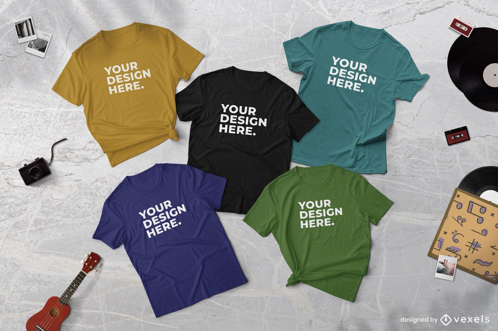Composição de maquete de camisetas musicais