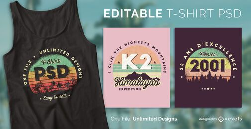 Retro sunset scalable t-shirt psd