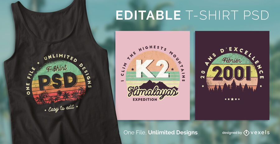 Camiseta escalable retro sunset psd