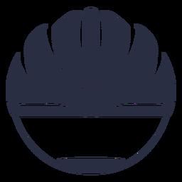 Corte frontal do capacete de bicicleta