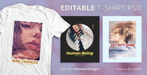 Camiseta escalable efecto cristal psd
