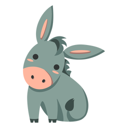 Cute donkey semi-flat
