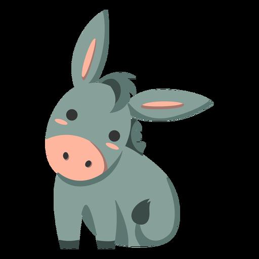 Lindo burro semi plano Transparent PNG