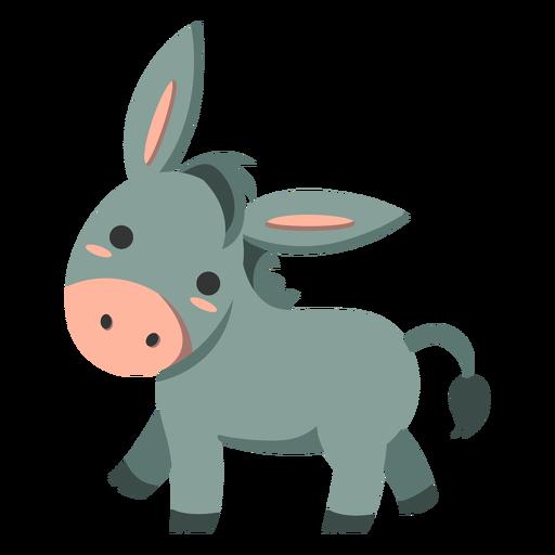 Cute donkey walking semi-flat