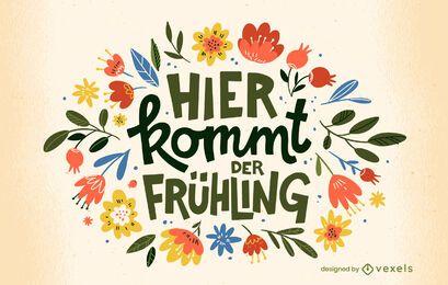Deutsches Frühlingszitat-T-Shirt Design