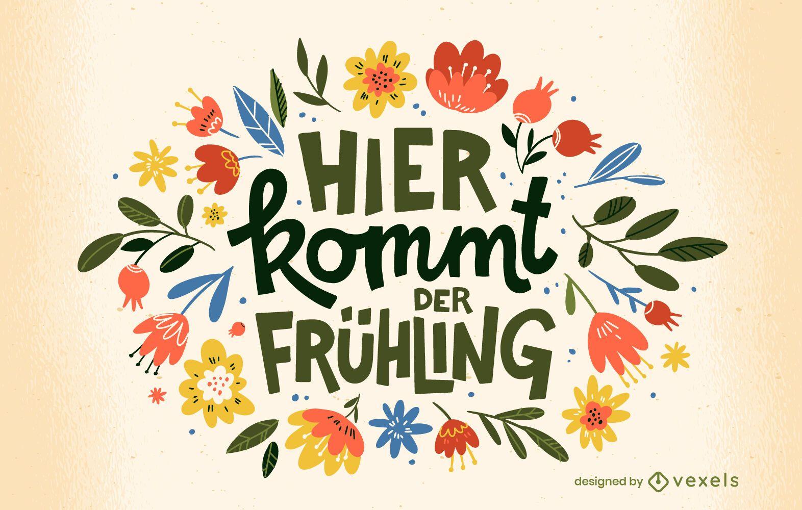 Diseño de camiseta de cita de primavera alemana