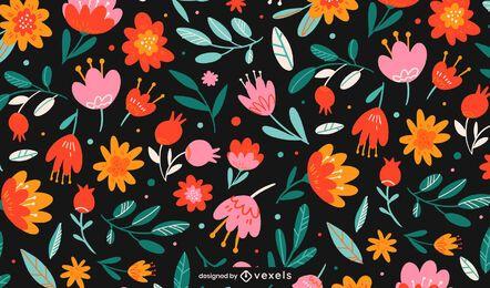 Projeto de padrão de flores planas coloridas
