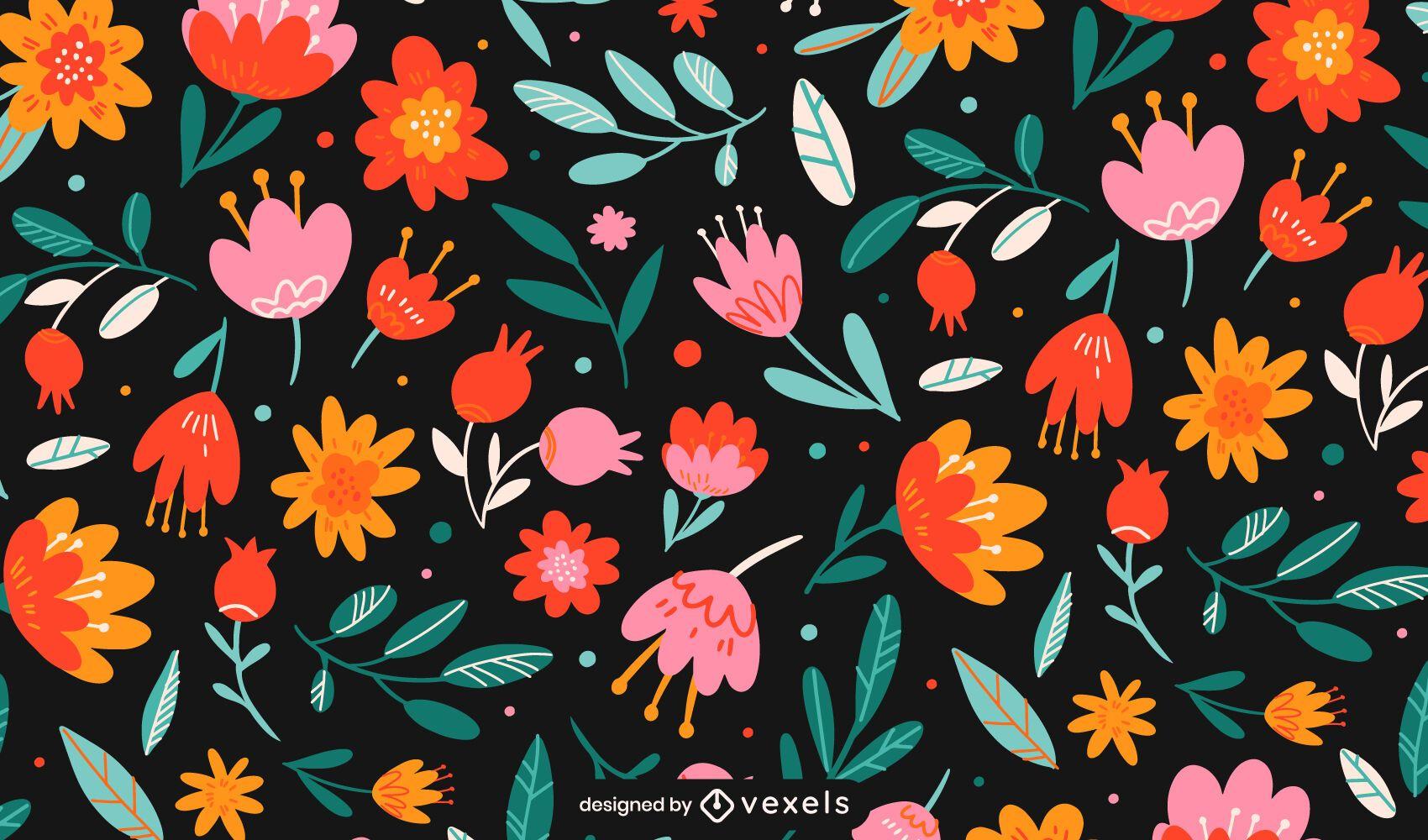 Diseño de patrón de flores de colores planos