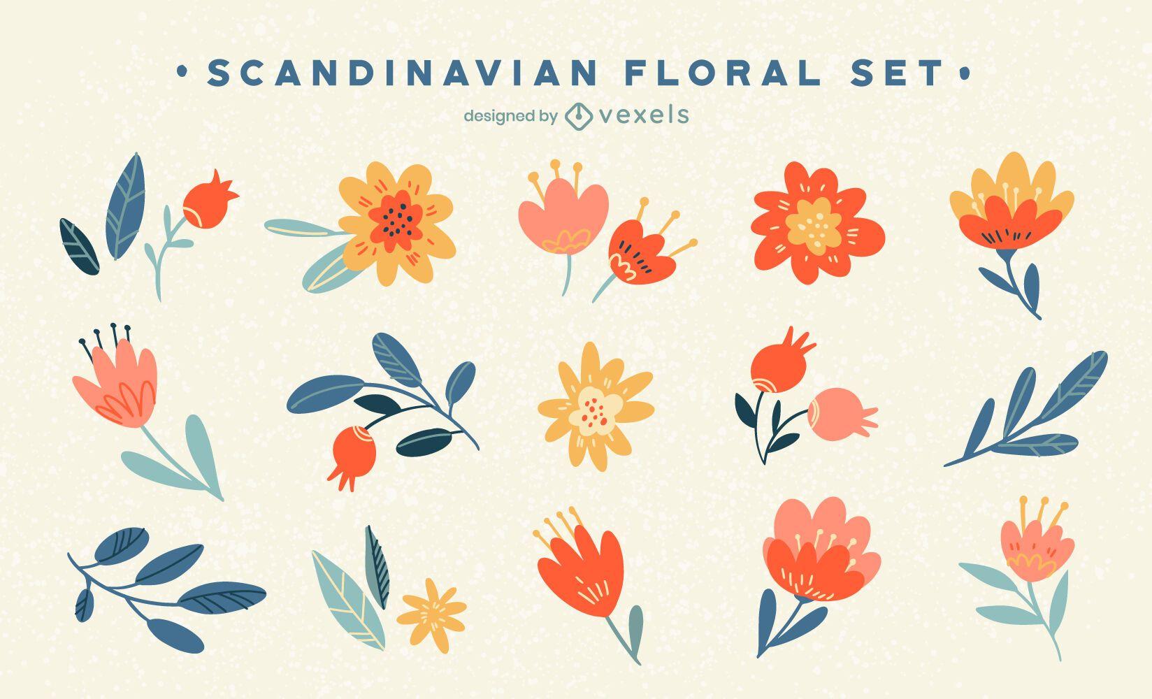 Conjunto floral escandinavo