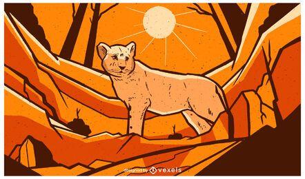 Ilustração da paisagem do bebê leão