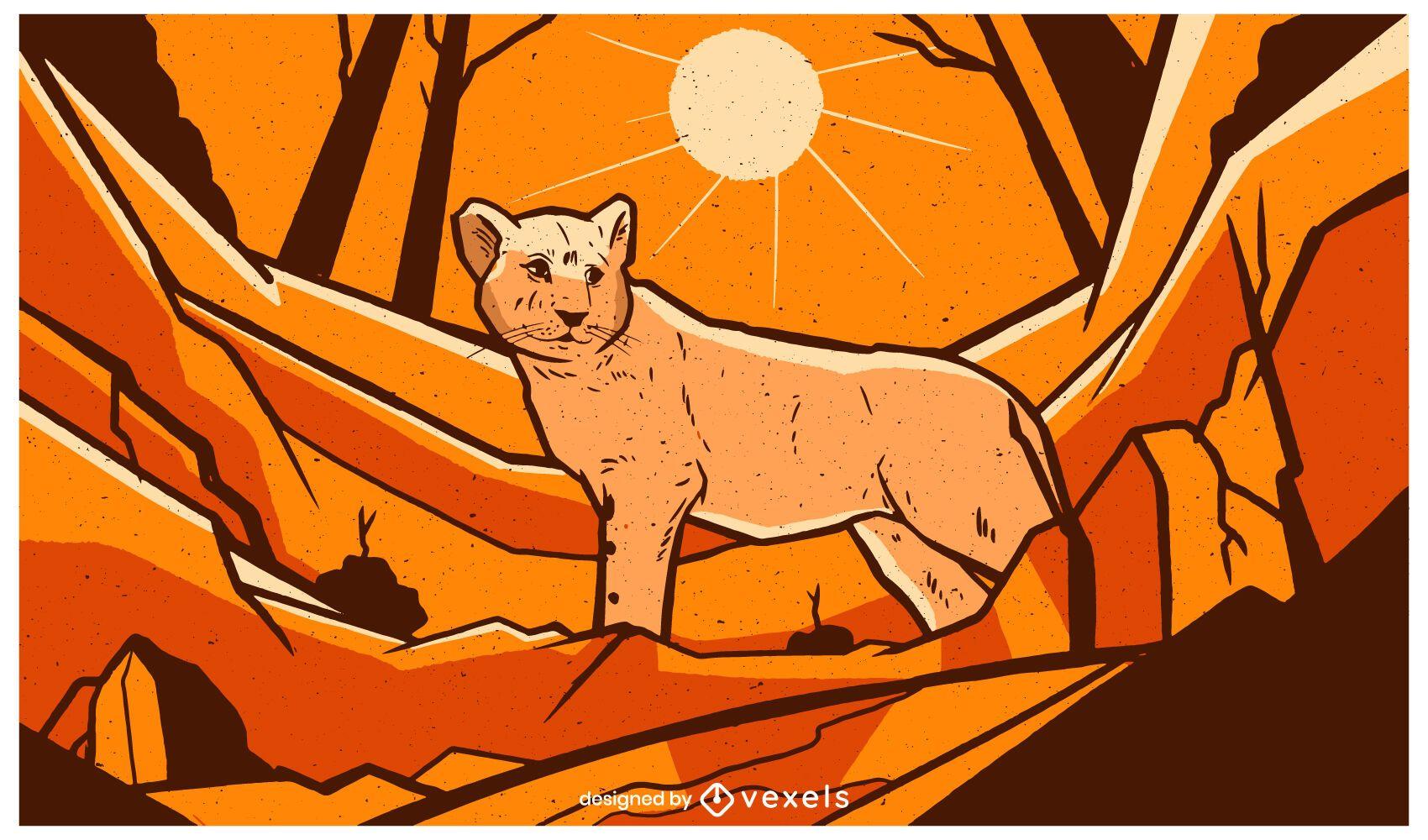 Baby lion landscape illustration