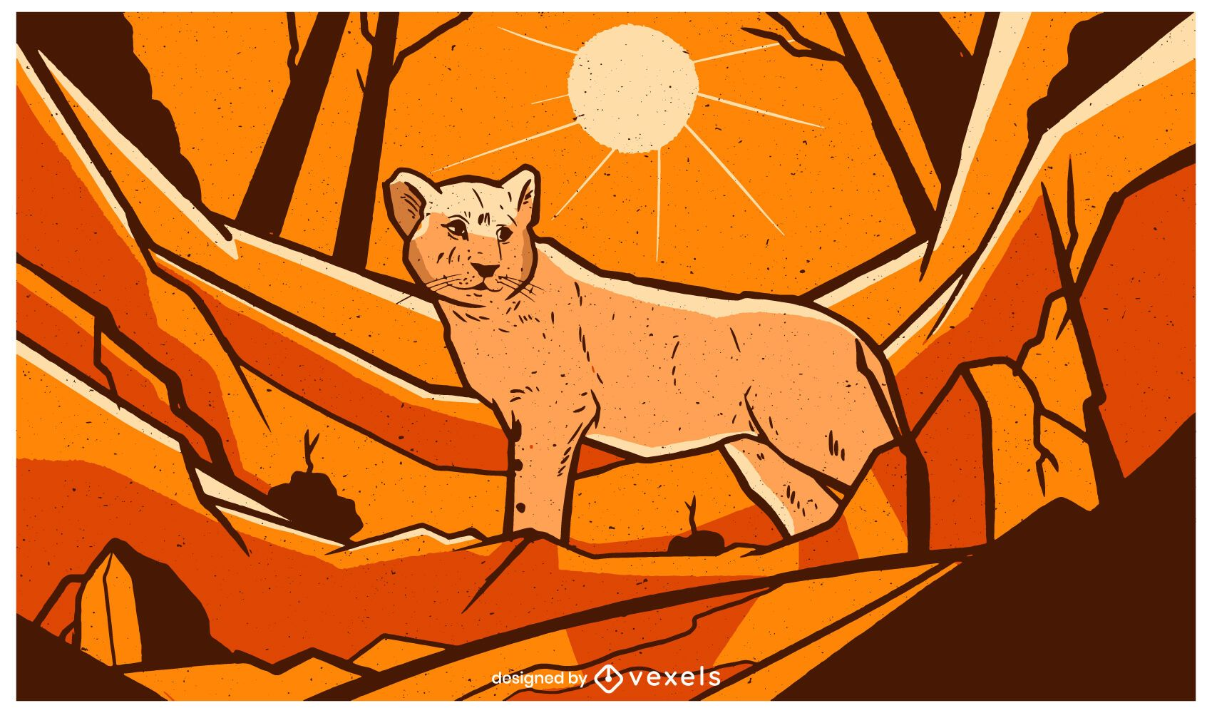 Ilustración de paisaje de león bebé