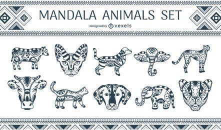 Conjunto de animais mandala