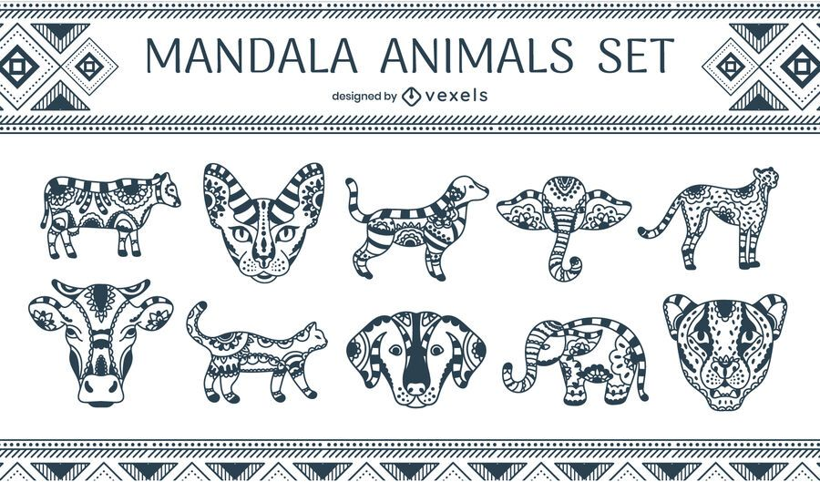 Mandala animals set