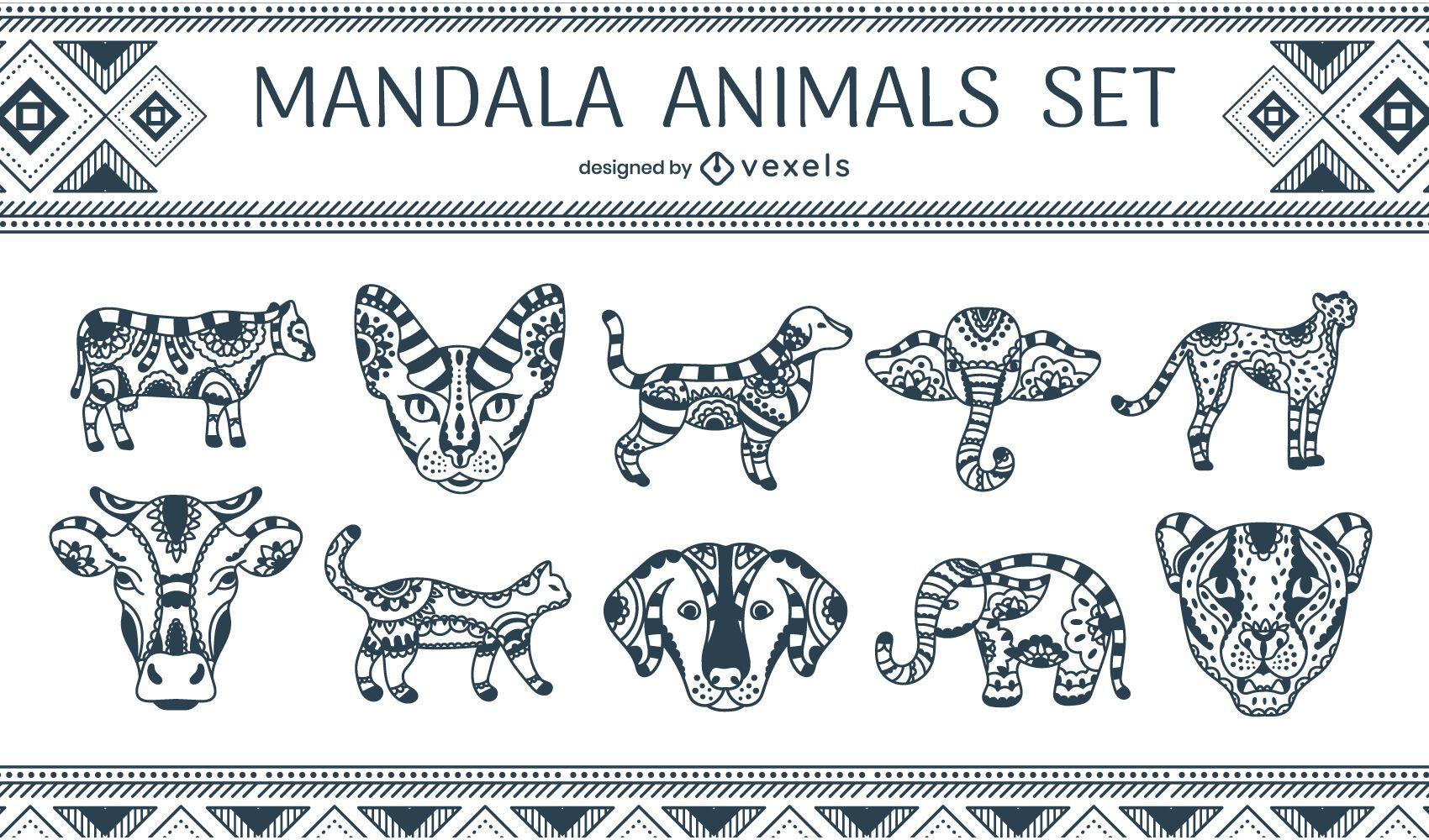 Mandala animals set