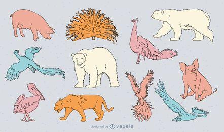 Conjunto de doodle de animais