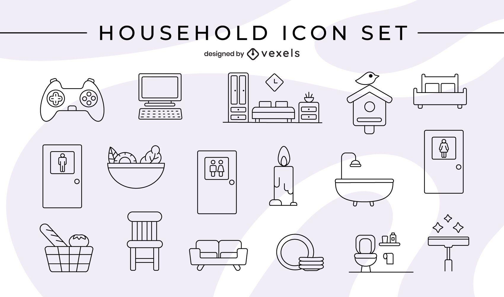 Household icon set