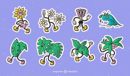 Conjunto de pegatinas de dibujos animados retro de naturaleza