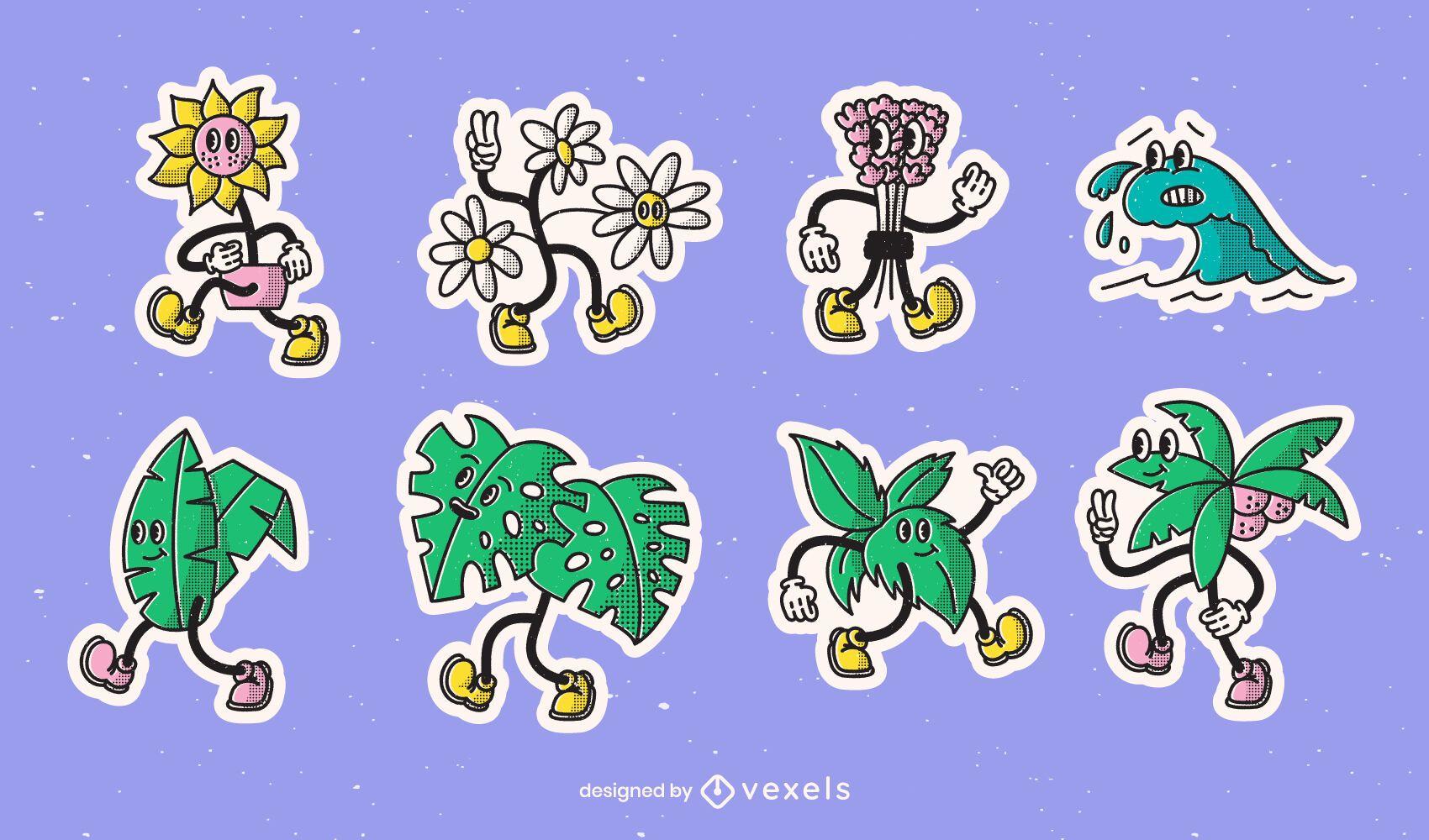 Conjunto de adesivos de desenhos animados retrô da natureza