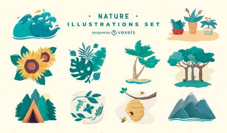 Nature elements illustration set