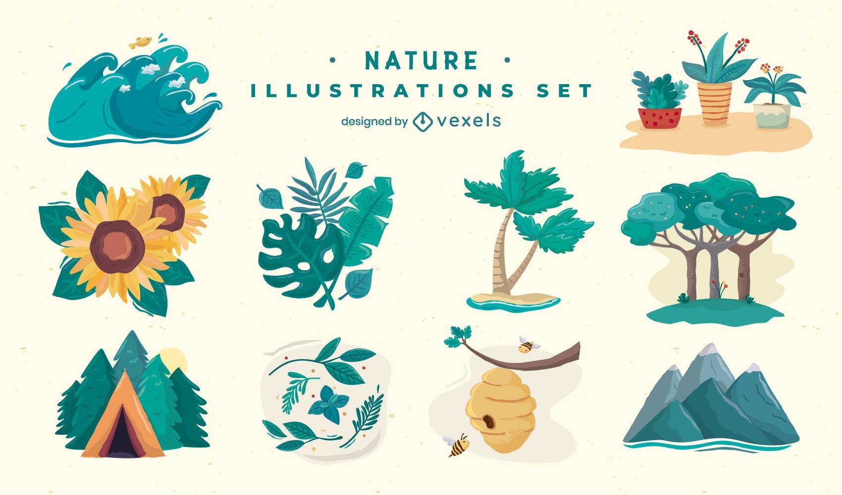 Conjunto de ilustración de elementos de la naturaleza