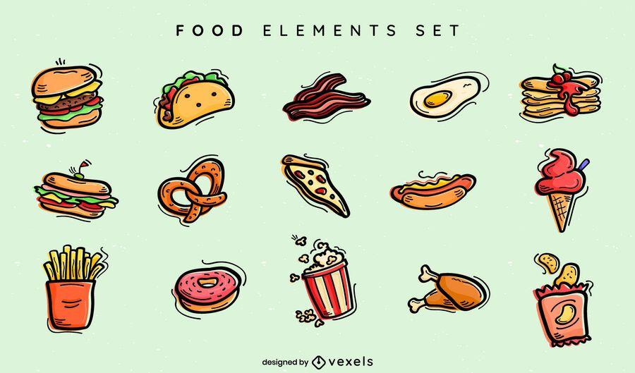 Conjunto de doodle de comida rápida