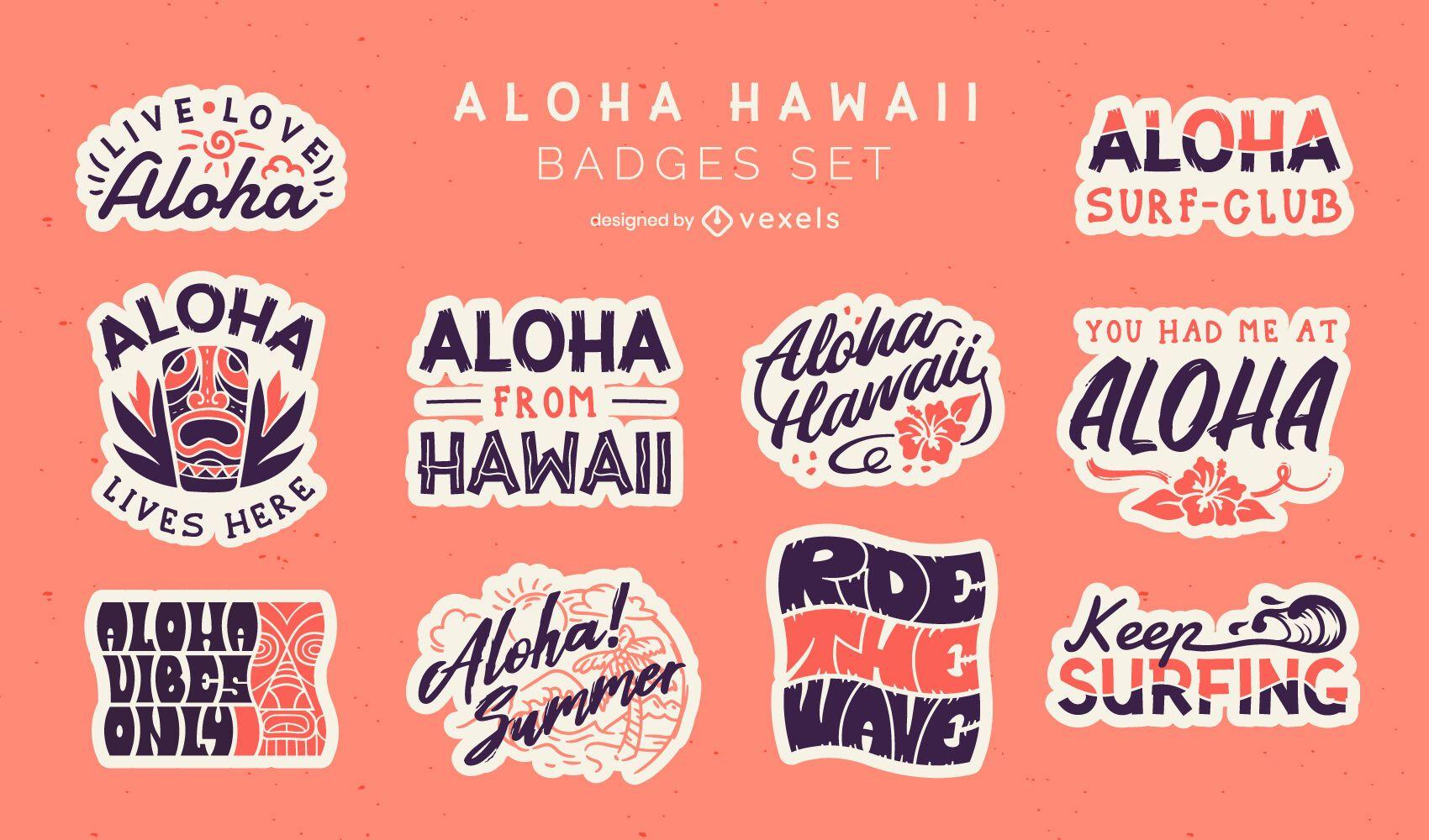 Aloha badges set