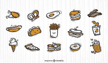 Conjunto de duotono de doodle de comida