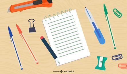 Instrumentos de escritura y material de oficina.
