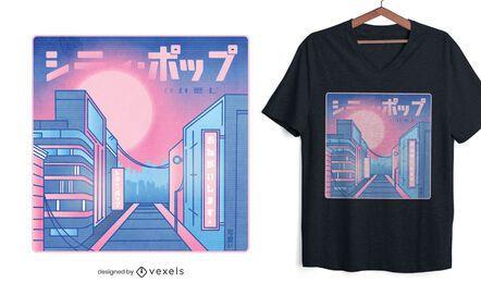Design de camiseta City pop vaporwave