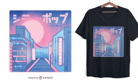 Diseño de camiseta city pop vaporwave