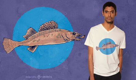 Diseño de camiseta realista de lucioperca.