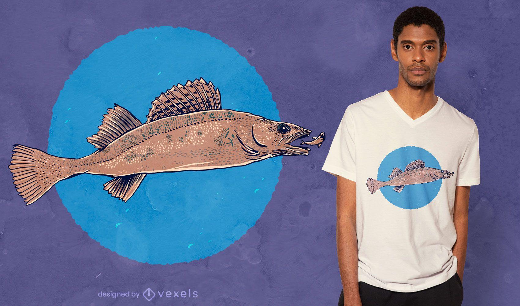 Realistic pikeperch t-shirt design
