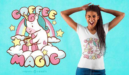 Diseño de camiseta de unicornio mágico de café.
