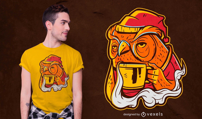 Diseño de camiseta de búho de café