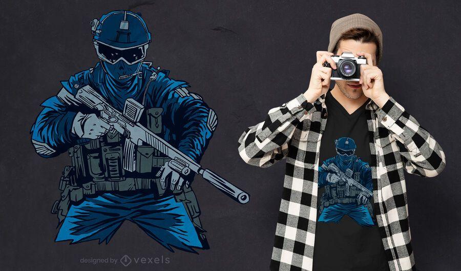 Diseño de camiseta de agente de fuerzas especiales.