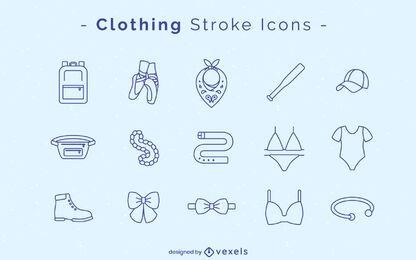 Conjunto de ícones de traços de roupas