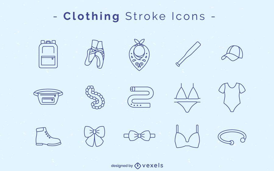 Conjunto de iconos de trazo de ropa
