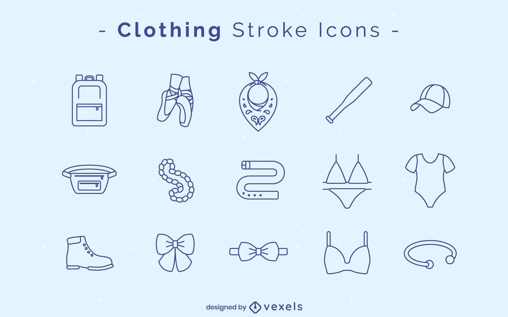 Clothing stroke icon set